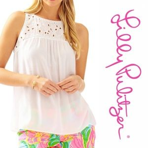 Lilly Pulitzer Flutter Top in white SzL